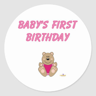 Cute Brown Bear Pink Bib Baby's First Birthday Stickers
