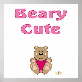 Cute Brown Bear Pink Bib Beary Cute Posters
