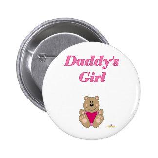 Cute Brown Bear Pink Bib Daddy's Girl 6 Cm Round Badge