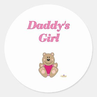 Cute Brown Bear Pink Bib Daddy's Girl Round Sticker