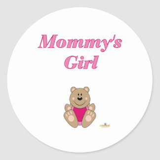 Cute Brown Bear Pink Bib Mommy's Girl Round Stickers
