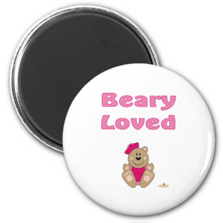 Cute Brown Bear Pink Sailor Hat Beary Loved Fridge Magnets