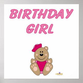 Cute Brown Bear Pink Sailor Hat Birthday Girl Poster