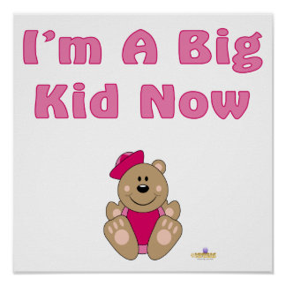 Cute Brown Bear Pink Sailor Hat I'm A Big Kid Now Print