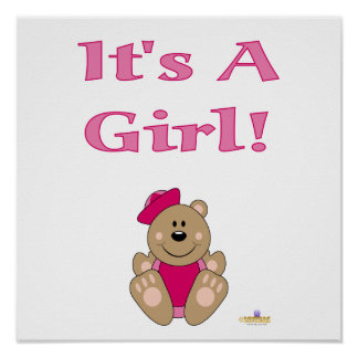 Cute Brown Bear Pink Sailor Hat It s A Girl Posters