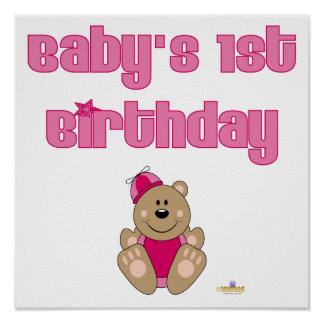 Cute Brown Bear Pink Silly Hat Baby's 1st Birthday Posters