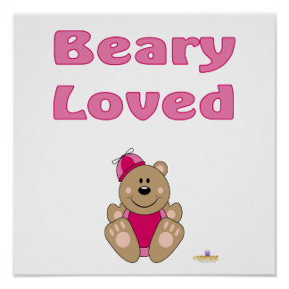 Cute Brown Bear Pink Silly Hat Beary Loved Print