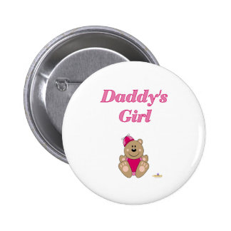 Cute Brown Bear Pink Silly Hat Daddy's Girl 6 Cm Round Badge