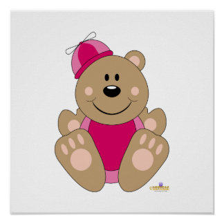 Cute Brown Bear Pink Silly Hat Print