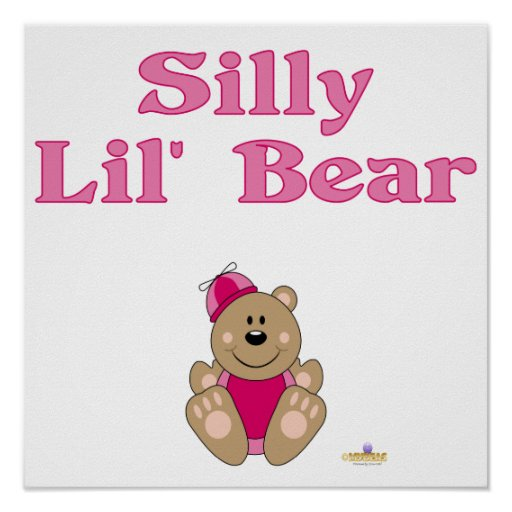 Cute Brown Bear Pink Silly Hat Silly Lil' Bear Posters