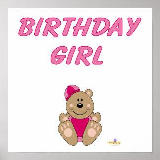 Cute Brown Bear Pink Snow Hat Birthday Girl Poster