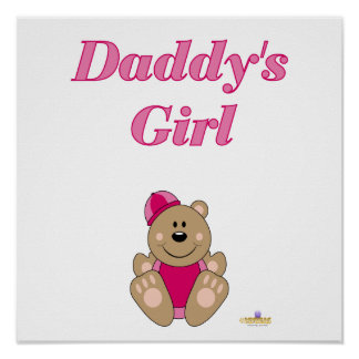 Cute Brown Bear Pink Snow Hat Daddy's Girl Poster