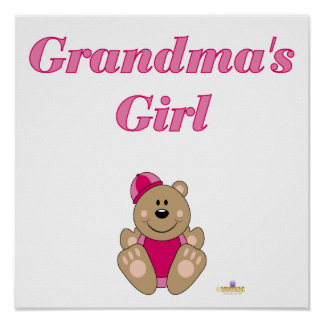 Cute Brown Bear Pink Snow Hat Grandma's Girl Posters
