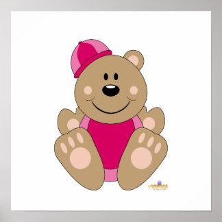 Cute Brown Bear Pink Snow Hat Posters