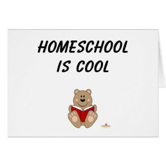 Cute Brown Bear Reading Homeschool Is Cool Card