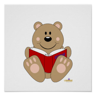 Cute Brown Bear Reading Poster