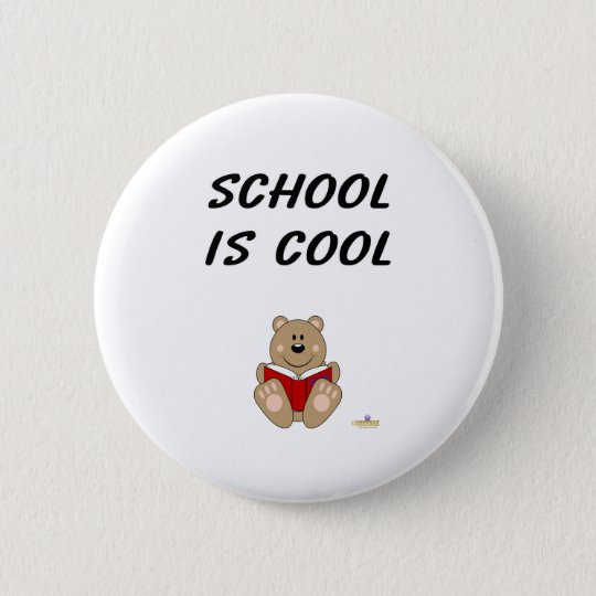 Cute Brown Bear Reading School Is Cool 6 Cm Round Badge
