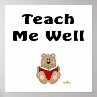Cute Brown Bear Reading Teach Me Well Poster