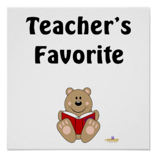 Cute Brown Bear Reading Teacher's Favorite Posters