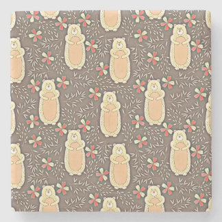 Cute Brown Bears with Flowers Pattern Stone Coaster