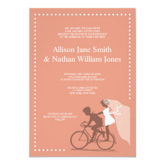 CUTE Brown Bicycle Couple Wedding Invitation