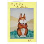 Cute brown bunny and flowers belated birthday greeting card