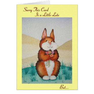Cute brown bunny and flowers original belated greeting card