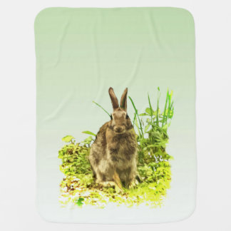 Cute Brown Bunny Rabbit Green Grass Baby Blanket