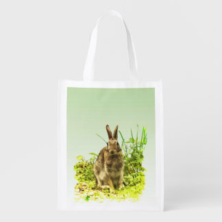 Cute Brown Bunny Rabbit Green Grass Reusable Bag