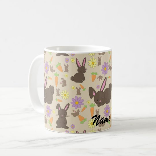 Cute Brown Bunny Rabbit Pattern Print Coffee Mug