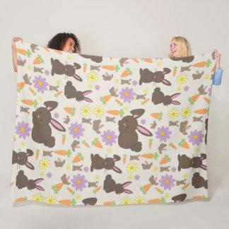 Cute Brown Bunny Rabbit Pattern Print Fleece Blanket