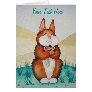 cute brown Bunny rabbit smiling colorful flowers Note Card