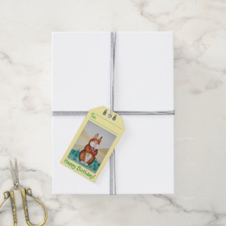 cute brown bunny rabbit with pretty flowers art gift tags