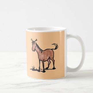 Cute Brown Cartoon Horse Basic White Mug