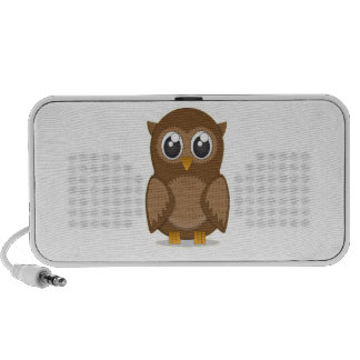 Cute Brown Cartoon Owl with Big Gleaming Eyes Mini Speakers