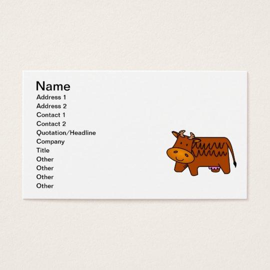 Cute Brown Cow Business Card