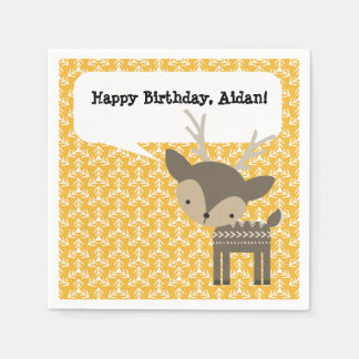 Cute Brown Deer Personalized Party Napkins Disposable Napkin