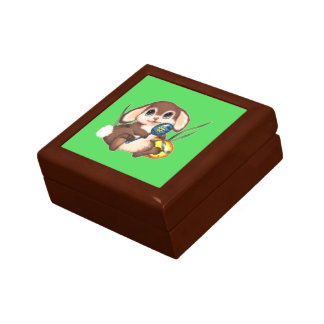 Cute Brown Easter Bunny and Eggs on Green Gift Box