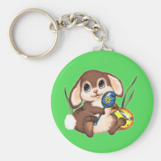 Cute Brown Easter Bunny and Eggs on Green Key Ring