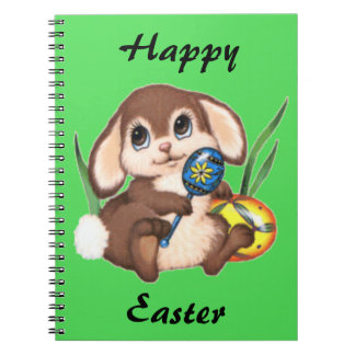 Cute Brown Easter Bunny and Eggs on Green Notebooks