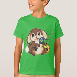 Cute Brown Easter Bunny and Eggs on Green T-Shirt
