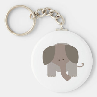 Cute Brown Elephant Basic Round Button Key Ring