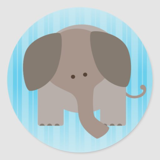 Cute Brown Elephant Round Stickers