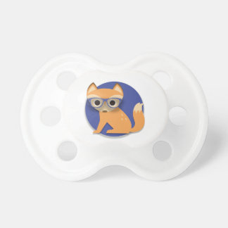 Cute Brown Fox with Glasses on Blue Pacifier