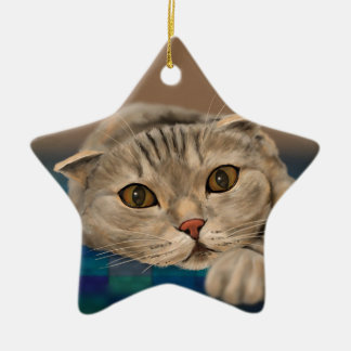 Cute Brown Furry Cat with Honey Eyes Christmas Ornament
