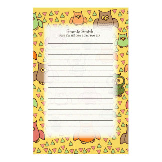 Cute Brown Green Orange Owls on Yellow Stationery