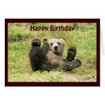 Cute brown grizzly bear cub custom birthday card