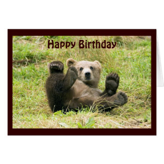 Cute brown grizzly bear cub custom birthday card