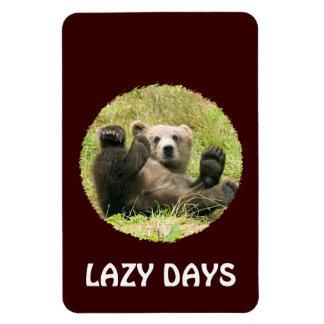 Cute brown grizzly bear cub custom lazy days, gift rectangular photo magnet