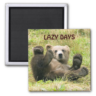 Cute brown grizzly bear cub photo custom lazy days square magnet